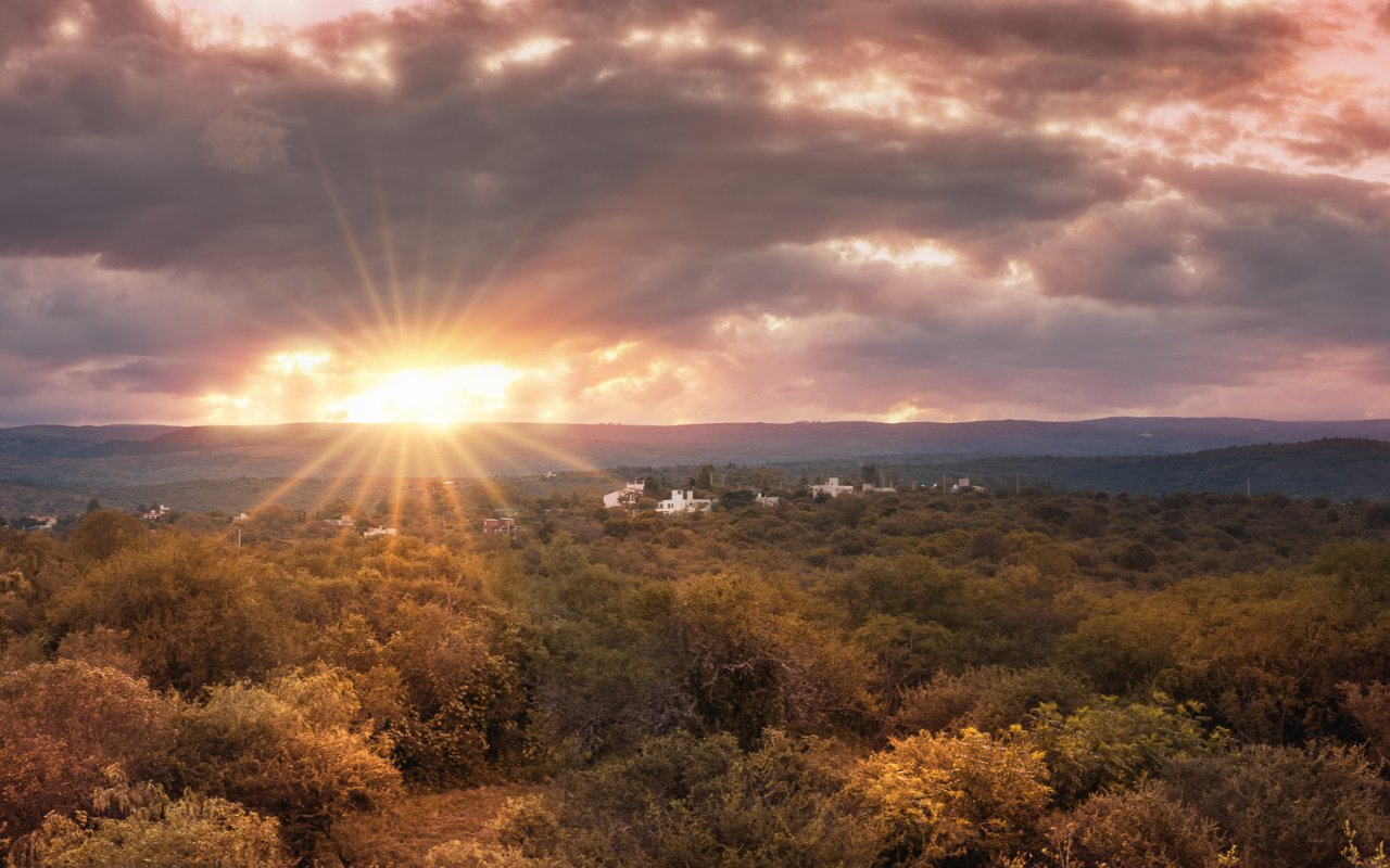 coucher de soleil, cordoba, argentine