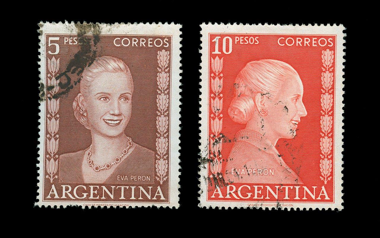 timbres à l'effigie de Eva Peron