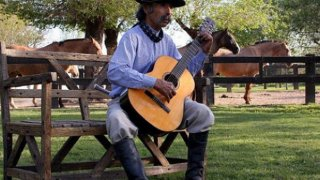 musique traditionnelle du campo argentin, gaucho jouant de la guitare